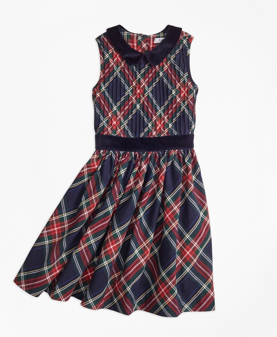 Girls Sleeveless Holiday Plaid Dress Navy-Red