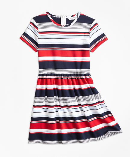 Girls Short-Sleeve Cotton Multi-Stripe Dress