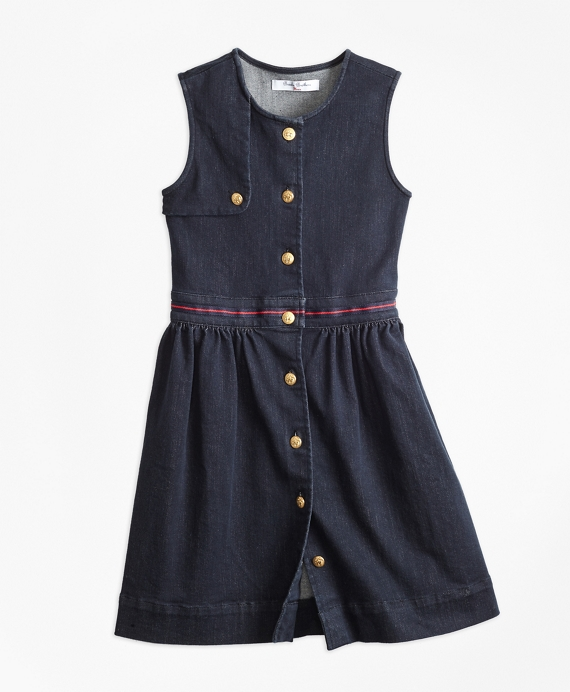 Girls Denim Dress Dark Navy