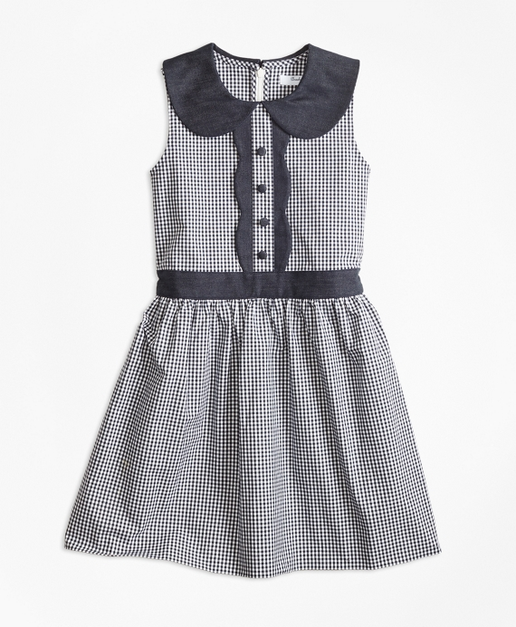 Girls Gingham Dress Navy