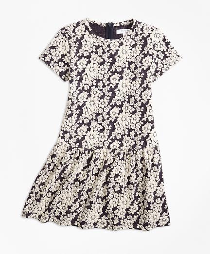 Girls Knit Floral Jacquard Dress