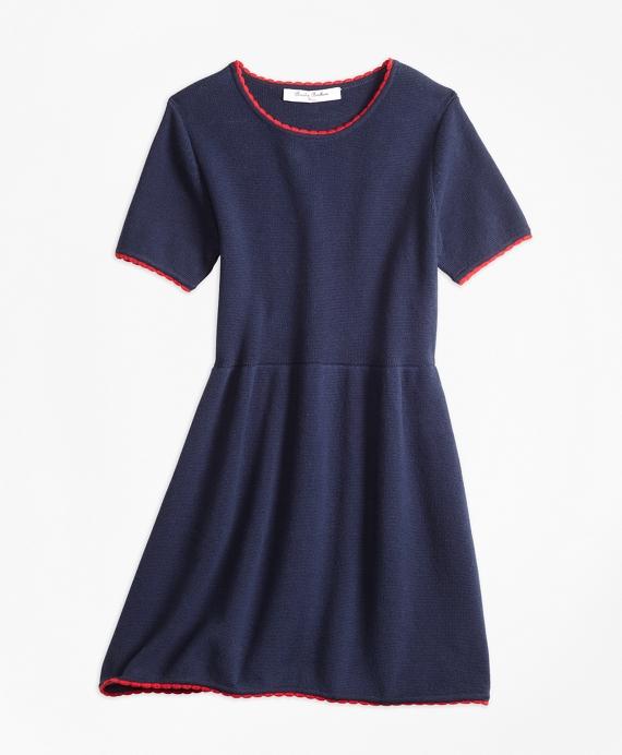Girls Cotton Sweater Dress Navy