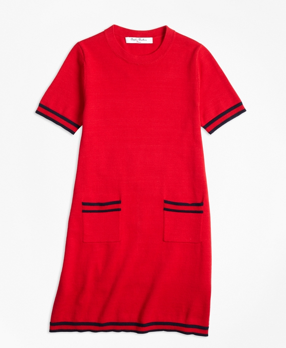 Girls Cotton Cap Sleeve Sweater Dress Red