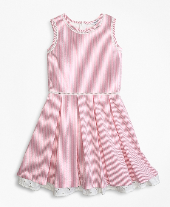Girls Cotton Seersucker Dress Pink