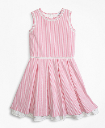 Girls Cotton Seersucker Dress