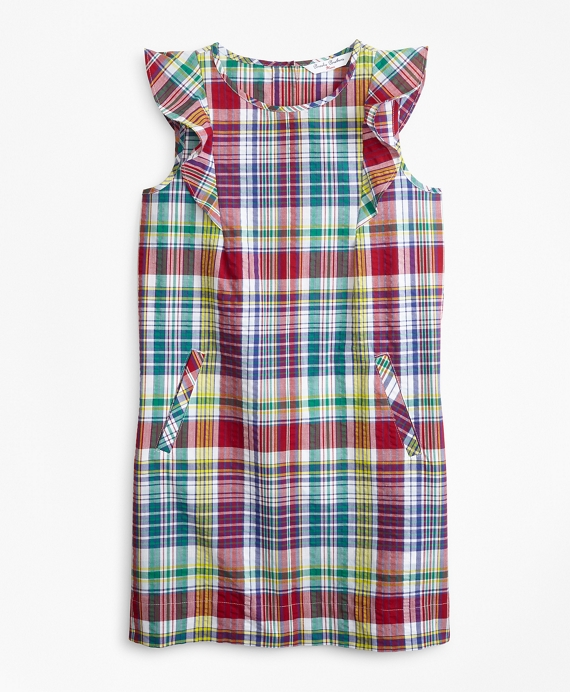 Girls Cotton Madras Dress Multi