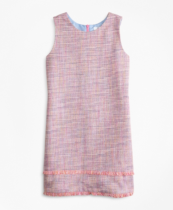Girls Boucle Dress Pink-Multi