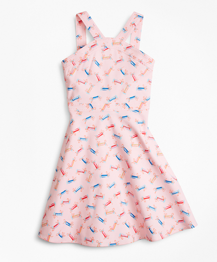 Girls Cotton Tossed Candy Print Dress