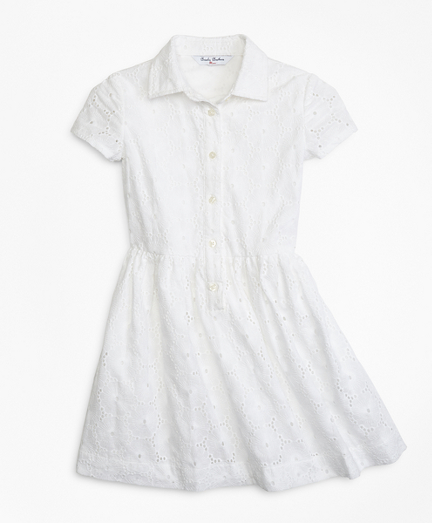 Girls Cotton Eyelet Shirred Dress