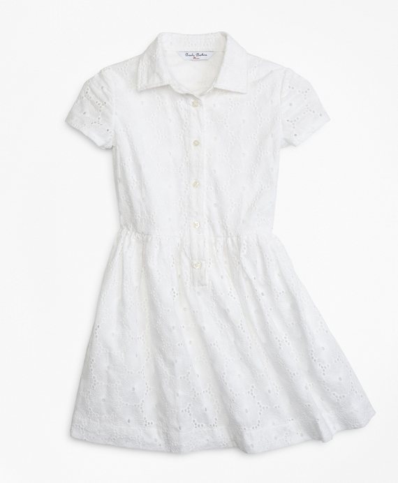 Girls Cotton Eyelet Shirred Dress White