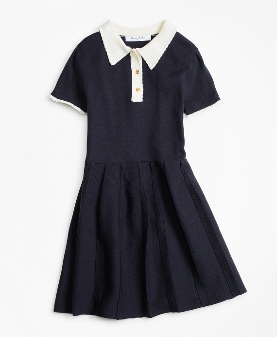 Girls Merino Wool-Blend Sweater Dress Navy