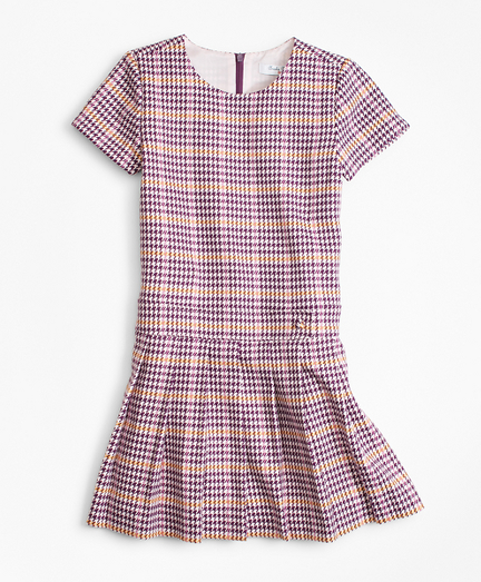 Girls Short-Sleeve Houndstooth Dress