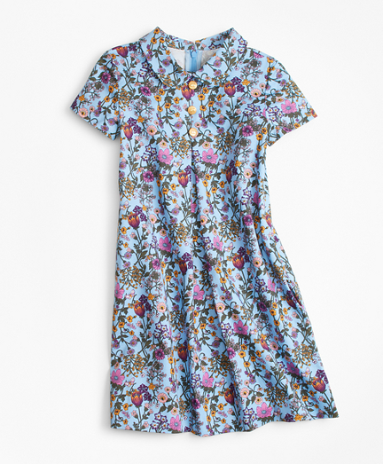 Girls Floral Peter Pan Collar Dress