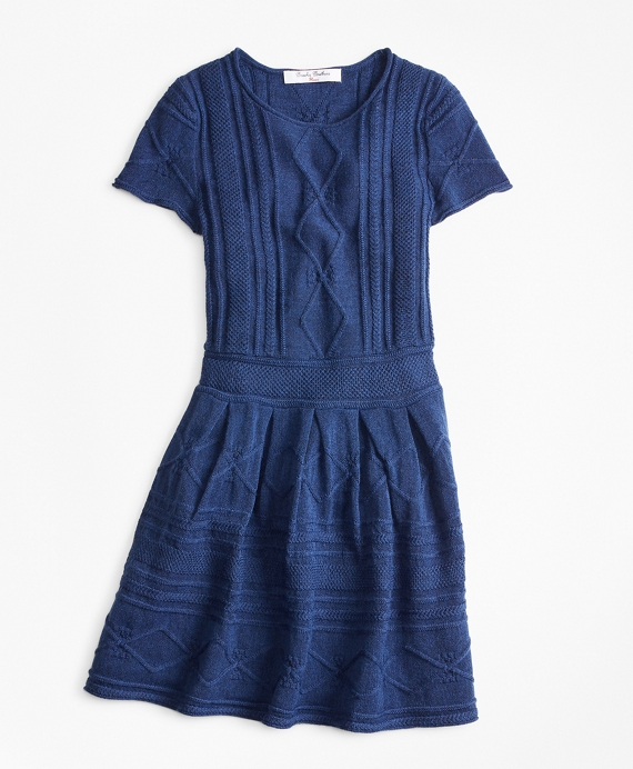 Girls Merino Wool-Blend Cable Knit Sweater Dress Blue