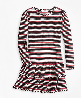 Girls Striped Ruffle Knit Dress