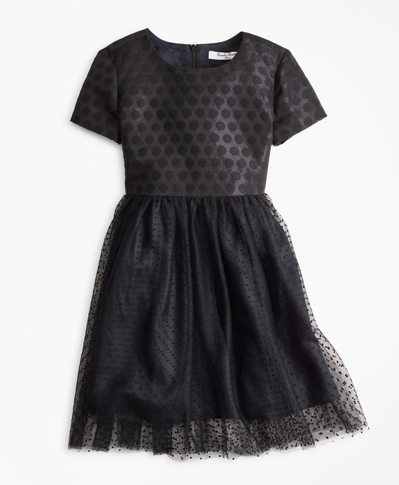 Girls Polka Dot Tulle Dress Black