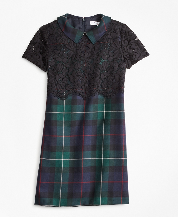 Girls Wool Twill Black Watch Plaid Dress Green-Navy