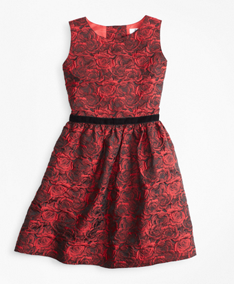 Girls Sleeveless Rose Jacquard Dress