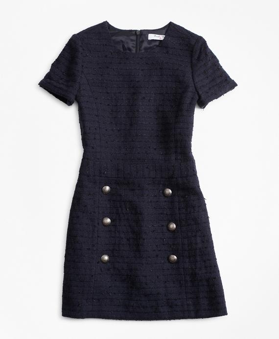 Girls Tweed Dress Navy