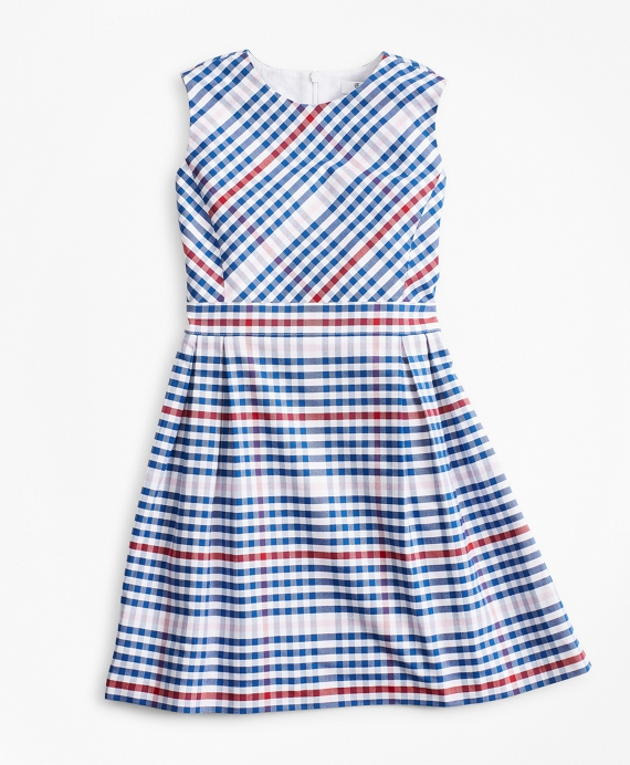 Girls Cotton Oxford Gingham Dress Blue-Multi