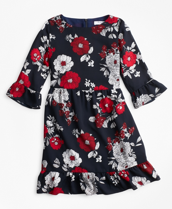 Girls Floral Ruffle Dress Navy-Multi
