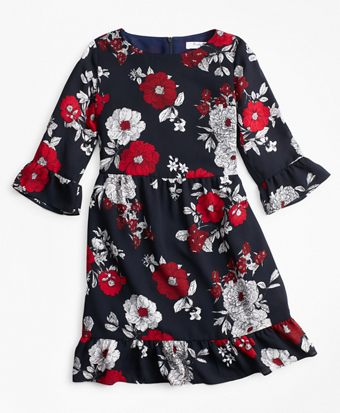 Girls Floral Ruffle Dress