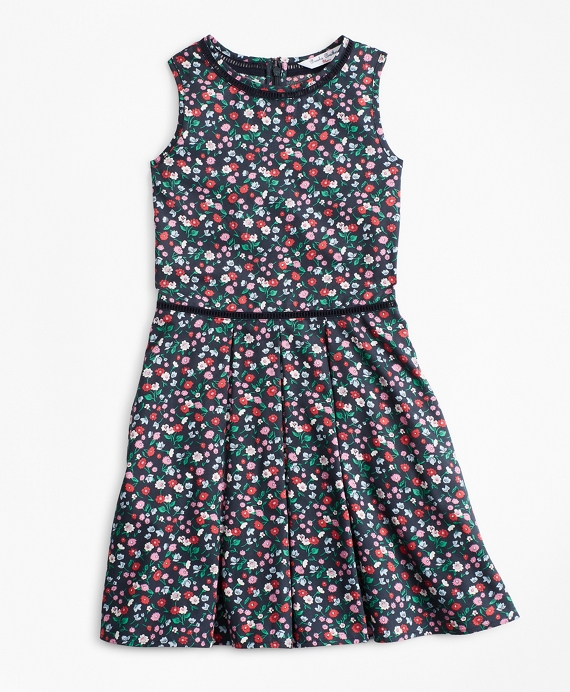Girls Supima® Cotton Floral Dress Navy-Multi