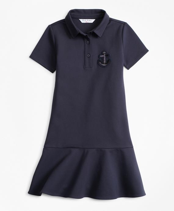 Girls Knit Ponte Dress Navy