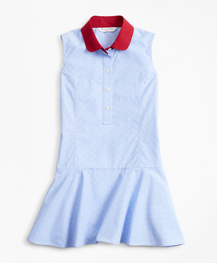 Girls Cotton Jacquard Anchor Dress