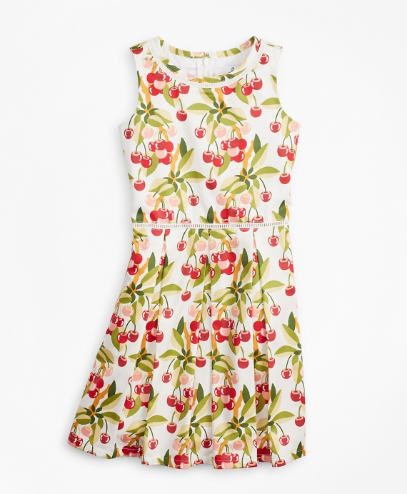 Girls Cherry Print Cotton Sleeveless Dress White-Multi