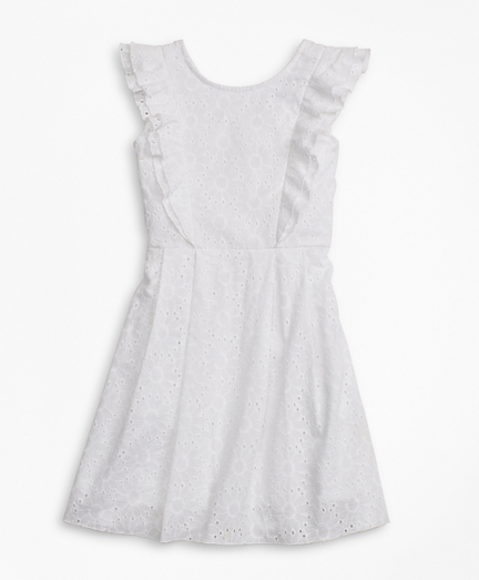 Girls Sleeveless Cotton Eyelet Dress