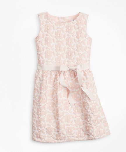 Girls Floral Jacquard Sleeveless Dress