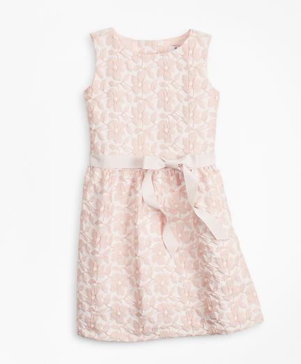 Girls Floral Jacquard Sleeveless Dress