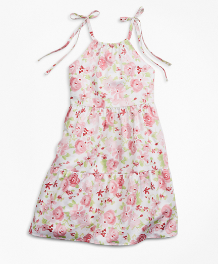 Girls Floral Print Cotton Dress