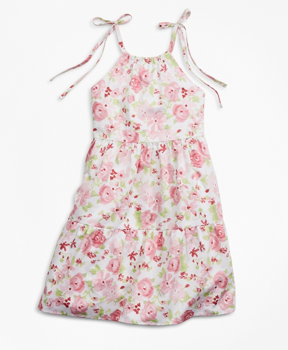 Girls Floral Print Cotton Dress Pink-Multi