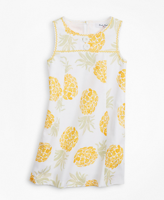 Girls Cotton Pineapple Print Shift Dress