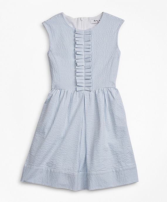 Girls Seersucker Dress Blue White