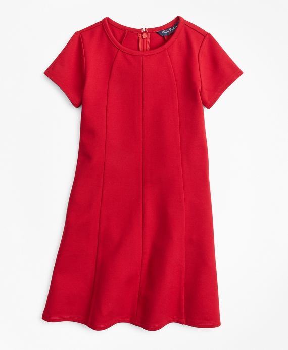 Girls Knit Ponte Dress Red