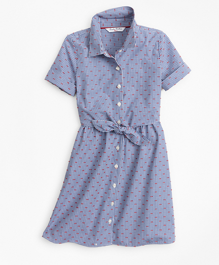 Girls Cotton Gingham Shirtdress
