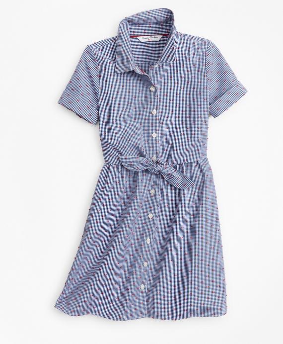 Girls Cotton Gingham Shirt Dress Navy