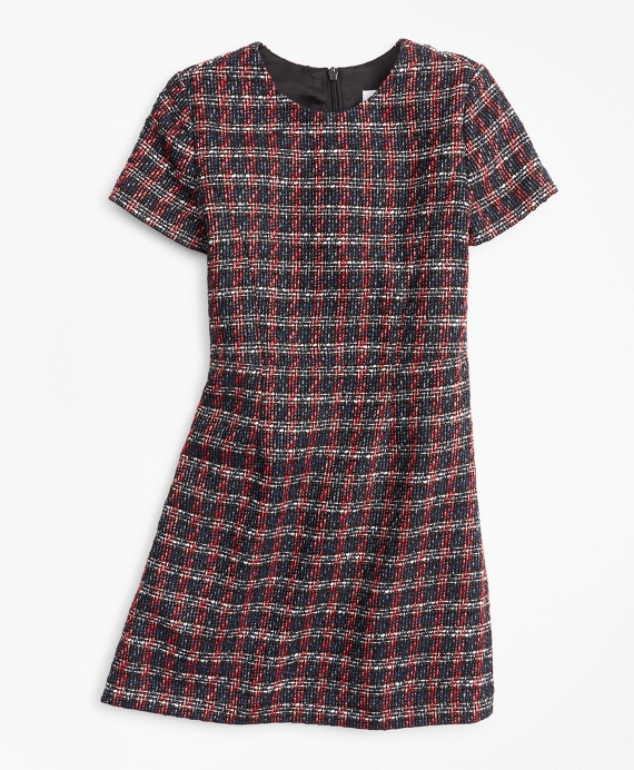 Girls Tweed Boucle Dress Black-Multi