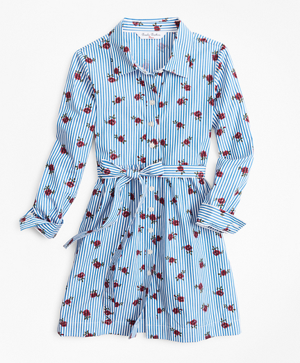 Girls Floral Stripe Shirtdress