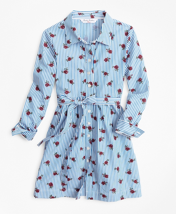 Girls Floral Stripe Shirtdress Blue-White