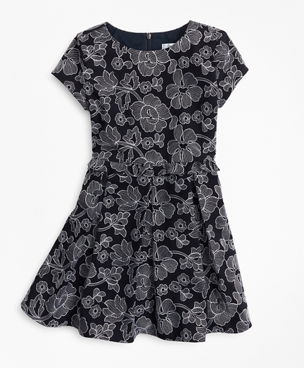 Girls Embroidered Ruffle Dress