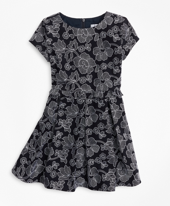 Girls Embroidered Ruffle Dress Navy