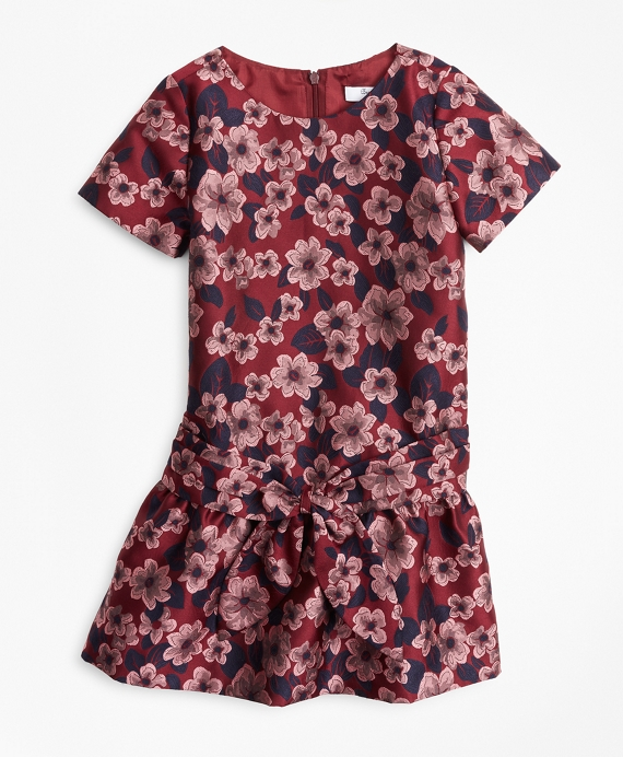Girls Jacquard Drop Waist Dress Burgundy-Multi