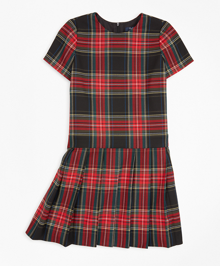Girls Short-Sleeve Tartan Dress