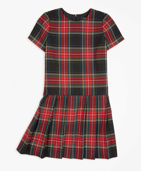Girls Short-Sleeve Tartan Dress Black-Red