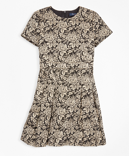 Girls Short-Sleeve Floral Jacquard Dress