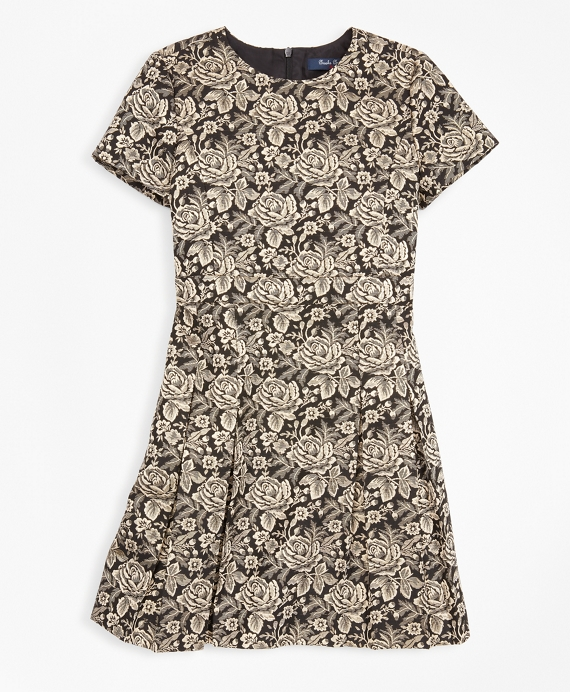 Girls Short-Sleeve Floral Jacquard Dress Black-Gold